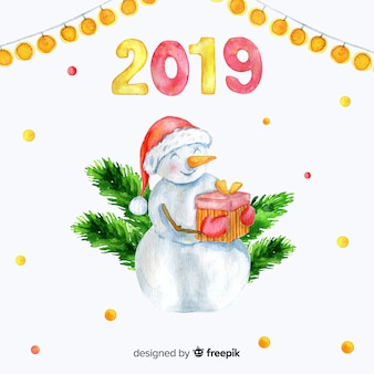 Watercolor new year 2019 background