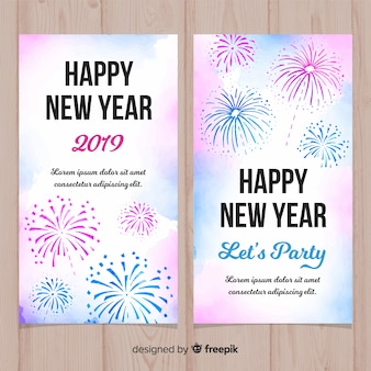 Watercolor new year 2019 banner with fireworks