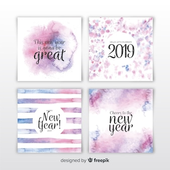 Watercolor new year 2019 cards set