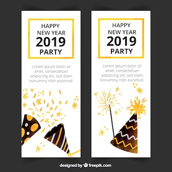 水彩の新年2019パーティーバナー