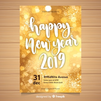Watercolor new year 2019 party flyer