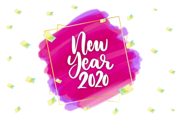 Watercolor new year 2020 background concept