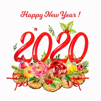 Watercolor new year 2020 background