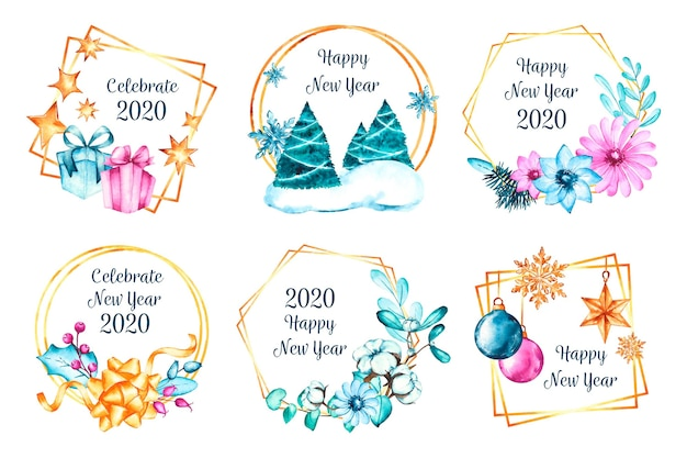 Watercolor new year 2020 badge collection