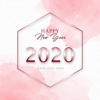 Watercolor new year 2020 greeting card