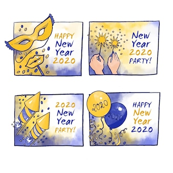 Watercolor new year 2020 label collection
