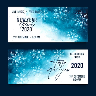 Watercolor new year 2020 party banners pack