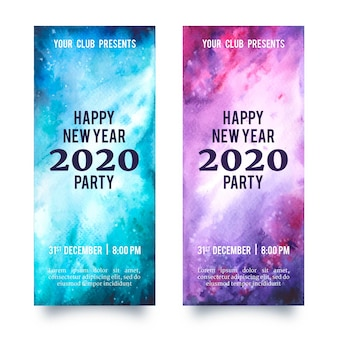 Watercolor new year 2020 party banners set