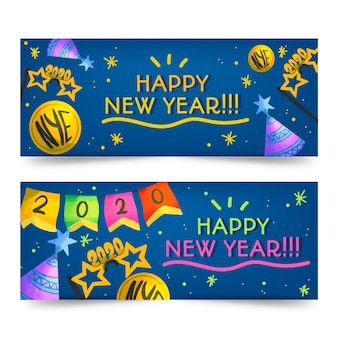 Watercolor new year 2020 party banners template