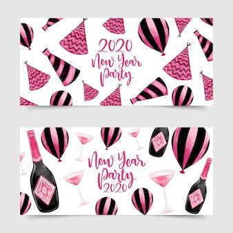 Watercolor new year 2020 party banners
