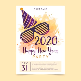 Watercolor new year 2020 party flyer/poster template