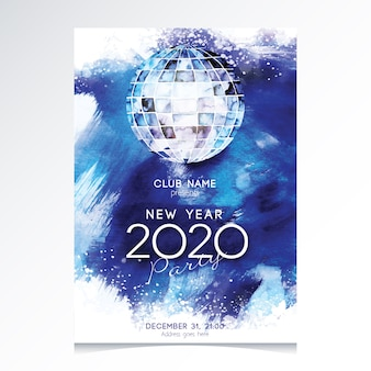 Watercolor new year 2020 party flyer template