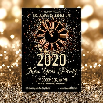 Watercolor new year 2020 party poster template