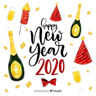 Watercolor new year 2020 with champagne