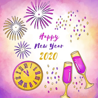 Watercolor new year 2020