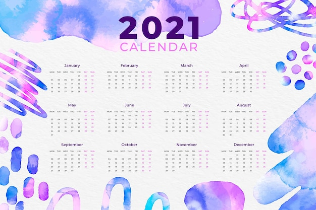 수채화 새해 2021 달력