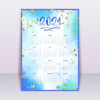 Акварельный календарь на новый год 2021