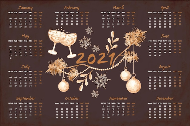 Watercolor new year 2021 calendar