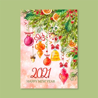 Watercolor new year 2021 card