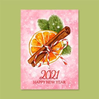 Акварель новогодняя открытка 2021