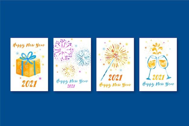 수채화 새해 2021 카드