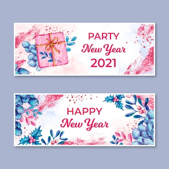 Watercolor new year 2021 party banners