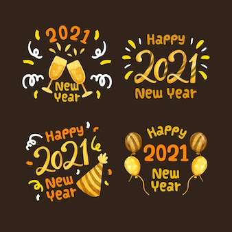 Watercolor new year 2021 party label collection