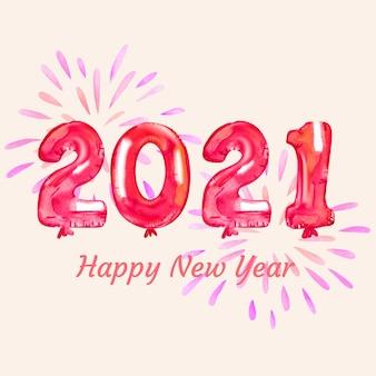 Акварель новый год 2021