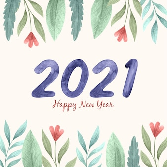 Watercolor new year 2021