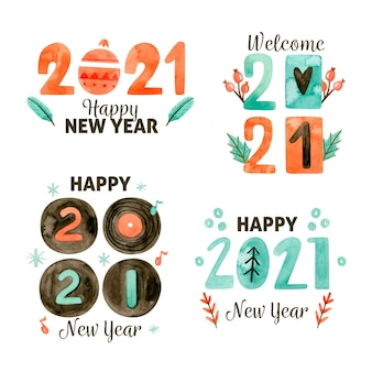 Watercolor new year badge collection