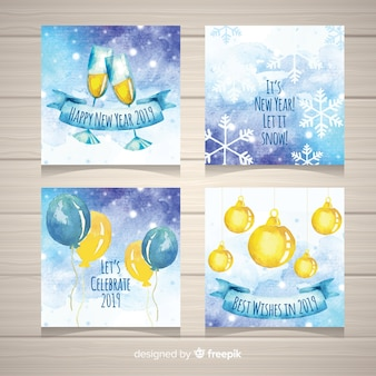 Watercolor new year cards collection