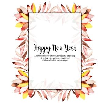 水彩の新年の花のフレーム