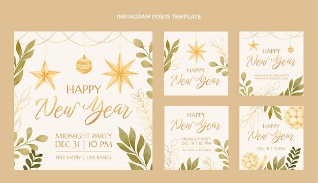 水彩の新年のinstagramの投稿コレクション