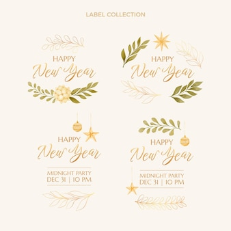 Watercolor new year labels collection