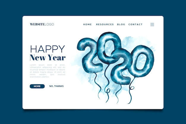 Watercolor new year landing page template