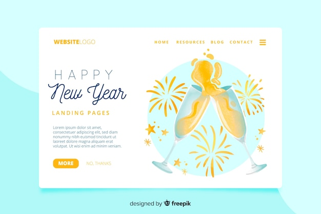 Watercolor new year landing page
