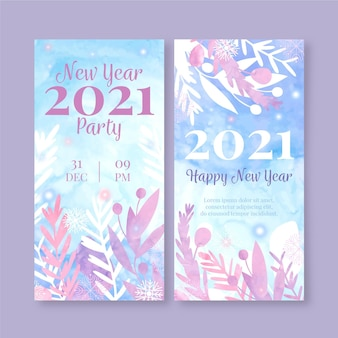 Watercolor new year party banners