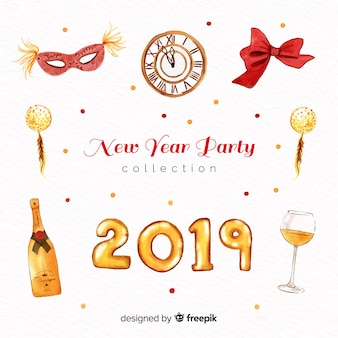 Watercolor new year party element collection