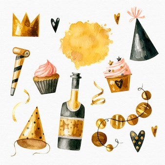 Watercolor new year party element set