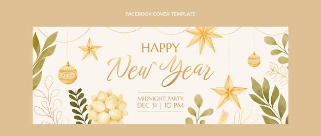 Watercolor new year social media cover template