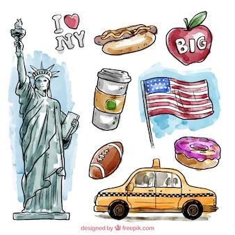 水彩ニューヨーク要素
