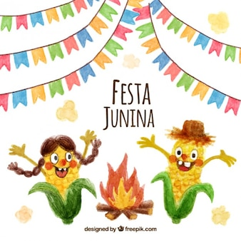 Watercolor nice corn characters with bonfire festa junina