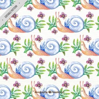 水彩素敵なカタツムリパターン