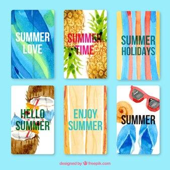 Акварельные установить хороший летние карты