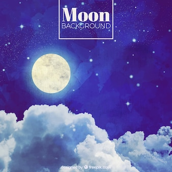 Acquerello sfondo cielo notturno con la luna