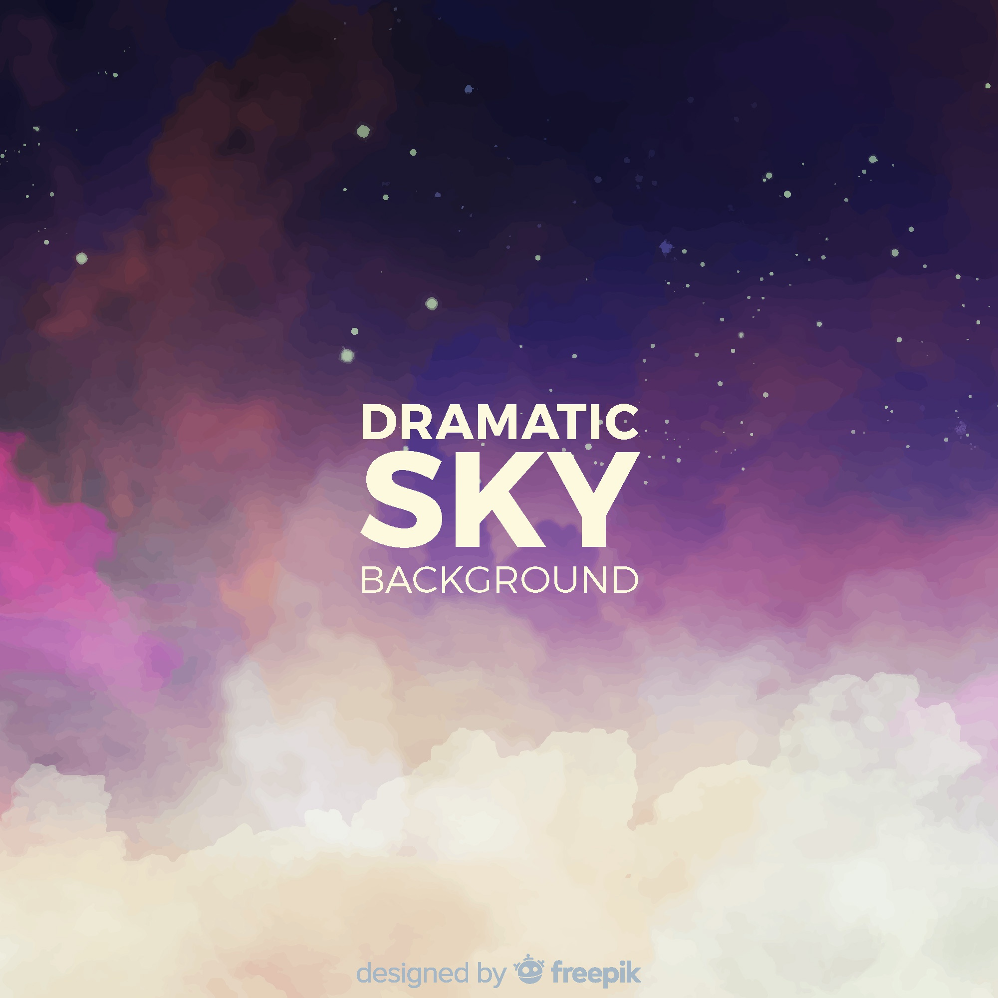 Watercolor night sky background