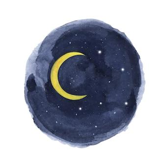 円の水彩画の夜空。