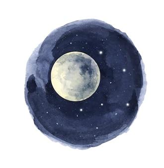 Акварель ночное небо в круге.