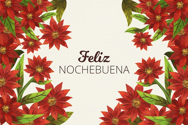 Watercolor nochebuena background