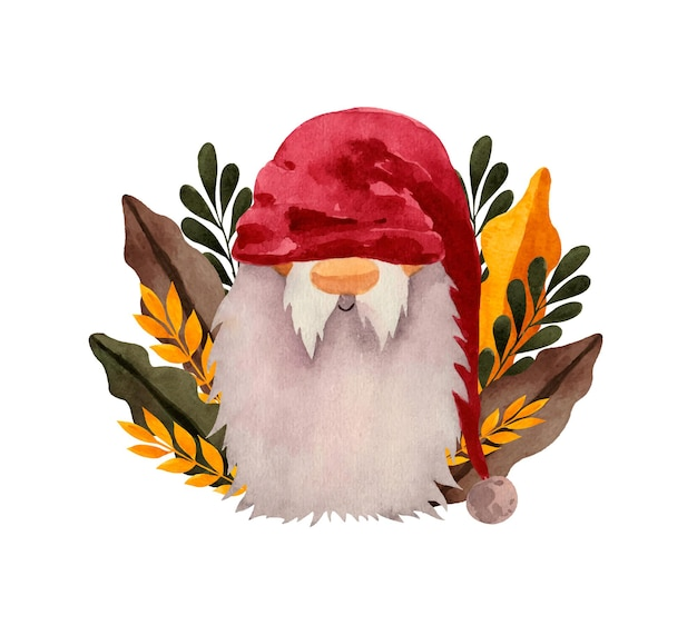 Watercolor nordic gnome in red hat with with foliage